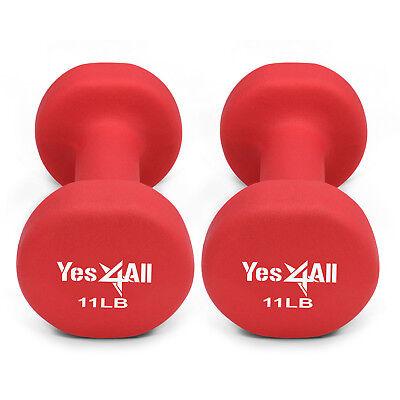 Yes4All 11 lb Dumbbell Weight Set with Non-Slip Grip - Neoprene Dumbbell Pair²2