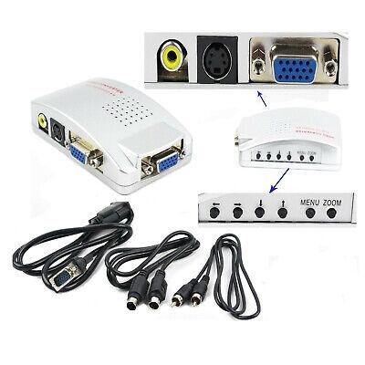Nuevo VGA Para TV Rca Compuesto S-VIDEO Cable Convertidor Adaptador Caja Para...
