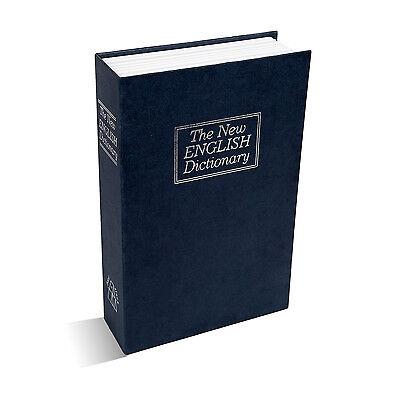 Deluxe Dictionary Book Secret Hidden Cash Safe Money Box Security Key Lock Blue