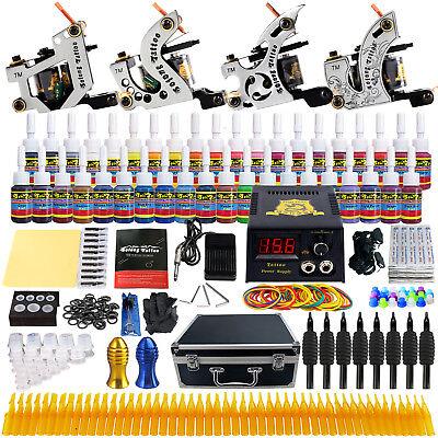 Solong Tattoo Complete Tattoo Kit 4 Pro Machine 54 Inks Set Carry Case Box TK459