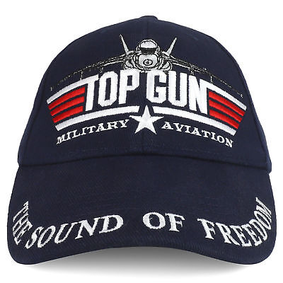 Top Gun Military Aviation The Sound of Freedom Blue Baseball Hat Cap Cotton/Poly - Top Gun Hat