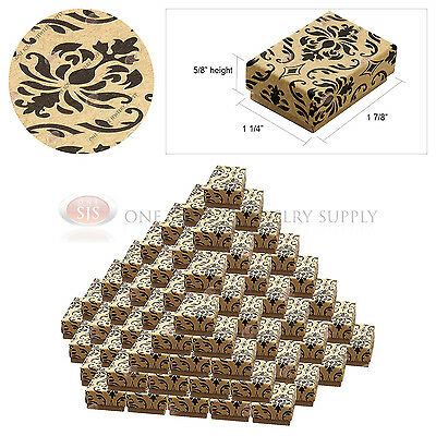 "100 Kraft Damask Print Gift Jewelry Cotton Filled Boxes 1 7/8"" x 1 1/4"" x 5/8"""