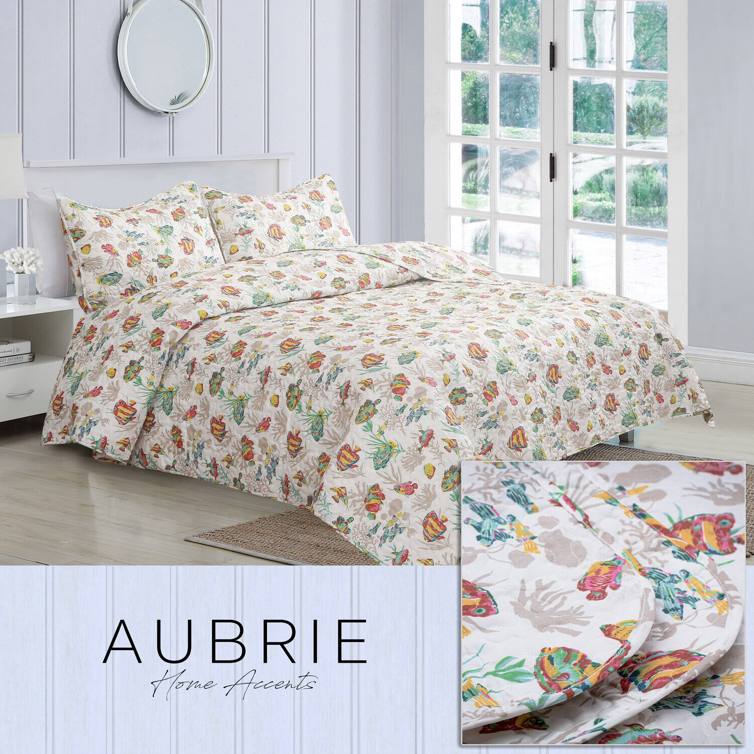Twin, Full/Queen, or King School of Fish Quilt Bedding Set, White Green Yellow Bedding