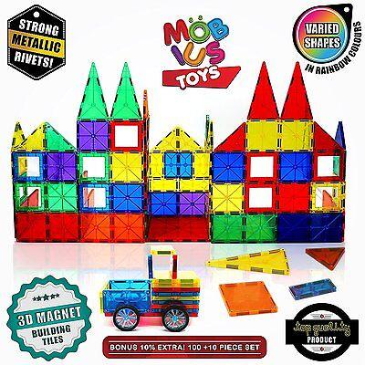 100 Piece Magnetic 3D Building Tiles Set Clear Colors STRONG Child Kids Toys NEW