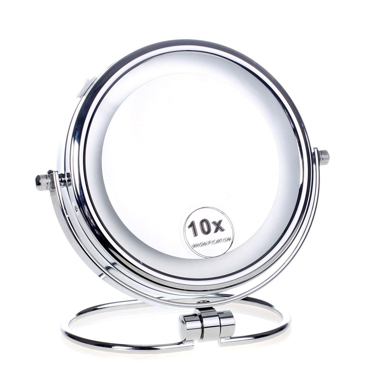 Cosmetici Specchio di Aumento con Luz LED per Trucco Bagno Tavolo X 10