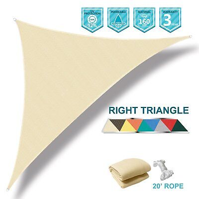 Sun Shade Sail Right  Triangle Beige Outdoor Home Garden Patio Pool Canopy Top ()