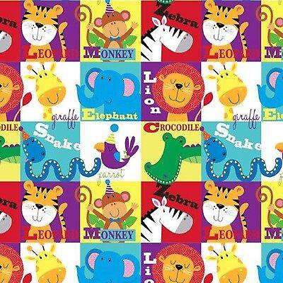 Fabric Alphabet Animals Blocks on Flannel by the 1/4 yard BIN
