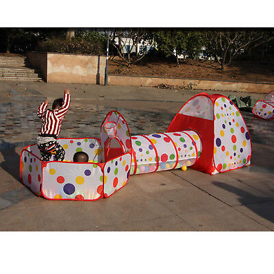 3 in 1 Baby Toddler Crawling Tunnel Play Tube Outdoor Indoor Fun Game Tent Toys