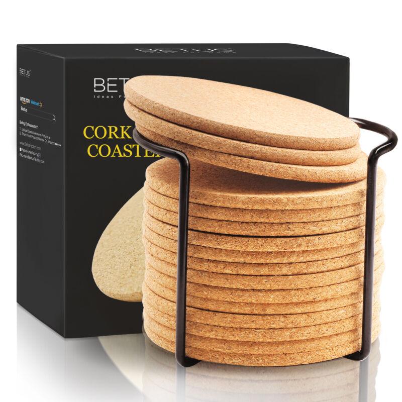 "Betus Round Cork Coasters 16pc Bulk Set With Metal Holder - 4"" Diameter"