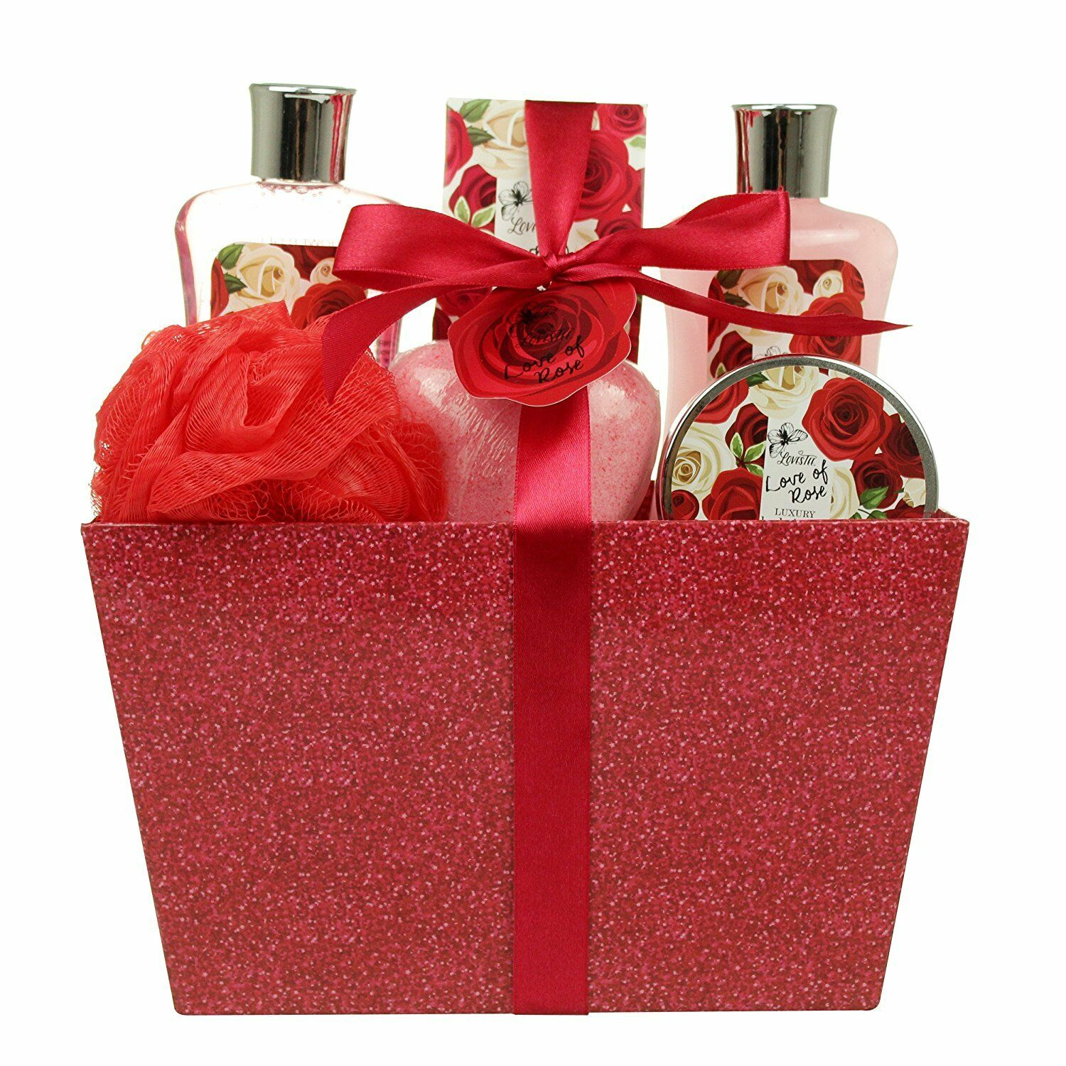 Details About Birthday Valentines Gift For Her Spa Basket Bath Body Love Of Rose Luxury Set
