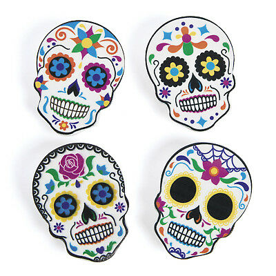 12 WOOD Halloween sugar skull DAY OF THE DEAD Party Decor Clips MESSAGE HOLDER - Halloween Party Day