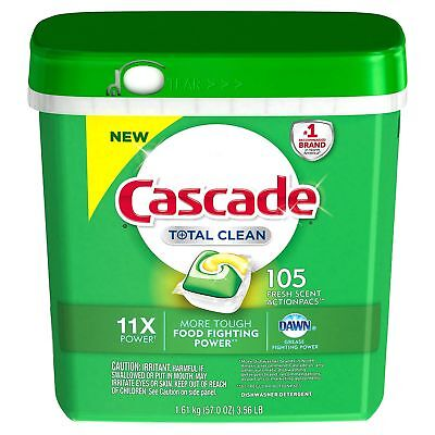 Cascade Total Clean Gel Dishwasher Detergent Pacs, Fresh Scent (105 ct.)!!!!!!!!