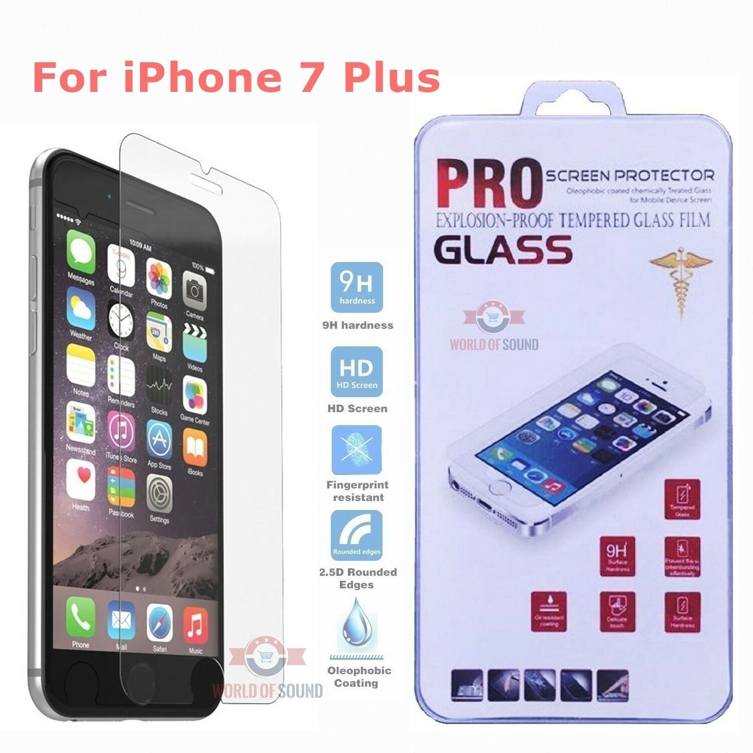For iPhone 7 Plus Tempered GLASS Screen Protector Bubble Fre