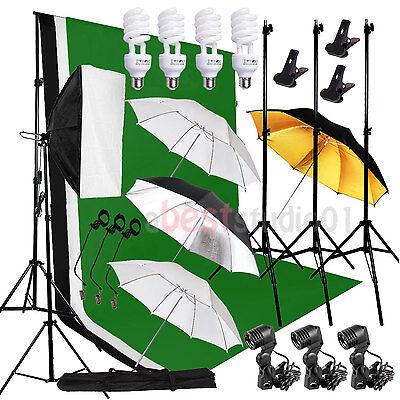 Photo Studio Continuous Softbox Umbrella Lighting Kit Backdrop Light Stand Set