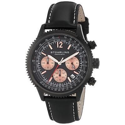 Stuhrling Monaco Men's 42mm Chronograph Black Calfskin krysterna Watch 669.05