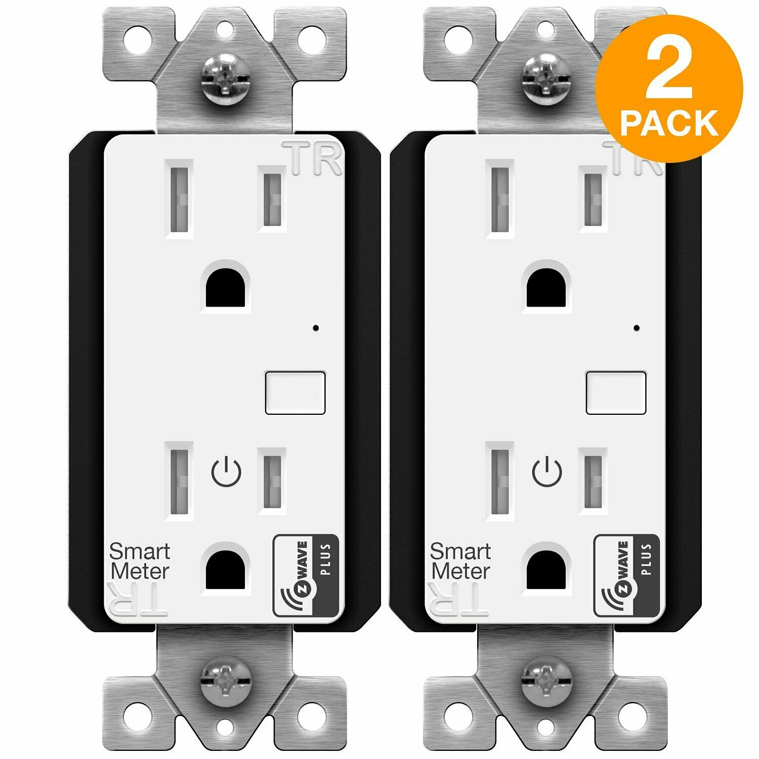 как выглядит ENERWAVE Z-Wave Plus Wall Outlet with Smart Meter Energy Monitor, 2-Pack фото