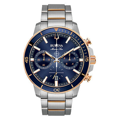 Look Rose - Bulova Marine Star Men's Quartz Chronograph Rose Gold Tone 45mm Watch 98B301