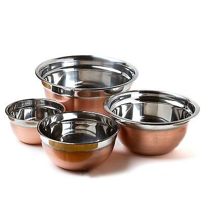 Euro Style Bowls (4 Stainless Steel Copper Finish Euro Style Mixing Bowl Set 5,3,1.5,.75 Quart Qt)