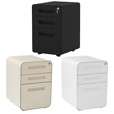 3-drawer Filing Cabinet Anti-tilt Office Vertical File Cabinet Storage With Key
