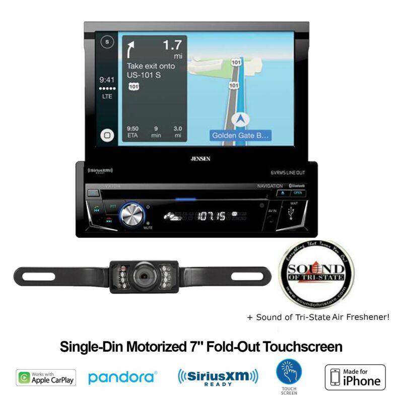 "Jensen VX7014 7"" Single Din Navigation Receiver w/ License Plate Backup Camera"