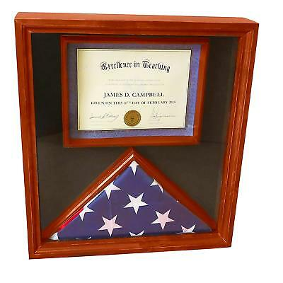 3x5 Flag Display Case with Certificate & Document Holder Big Frame - Flag Certificate Display Case