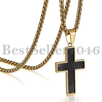 Mens Boys Black Carbon Fiber Cross Pendant Gold Square Chain Steel Necklace 22