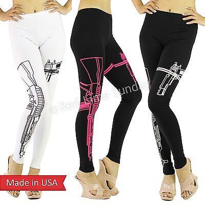 Machine Gun AK Firearm Pistol Print Black White Soft Leggings Pants Reg Plus USA