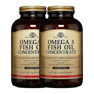 2x Solgar Omega-3 Fish Oil Concentrate Softgels 240 FREE US SHIPPING -