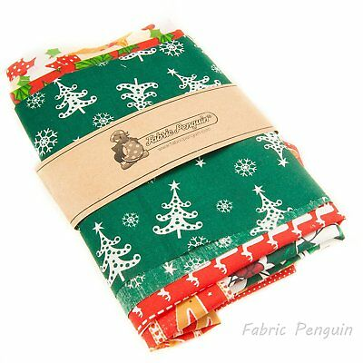 Christmas Fabric Remnants SCRAPS-VALUE PACK Bundle Offcut Mixed -