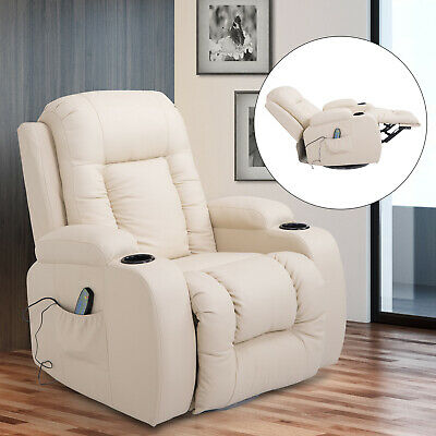 PU Leather Heated Vibrating Massage Recliner Sofa Chair Remote Cream White