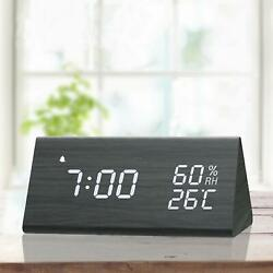 Digital Alarm Clock Wooden Electronic LED Time Display Wood Made Electric Clocks