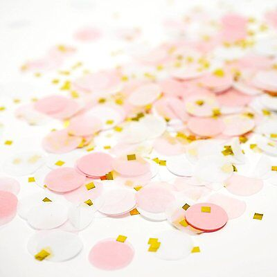 Pink White Gold Metallic Tissue Paper Shredded Circle Confetti Party Decoration (Gold Metallic Confetti)