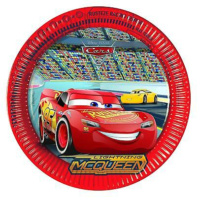 DISNEY CARS 3 PACK OF 8 PARTY PLATES 22CM DIAMETER LIGHTNING MCQUEEN NEW GIFT ()