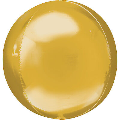 Gold  Party Supershape Helium Orbz Balloon 16 Inches All Party Events