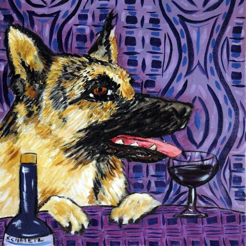 bernese mountain at the wine bar dog art tile coaster