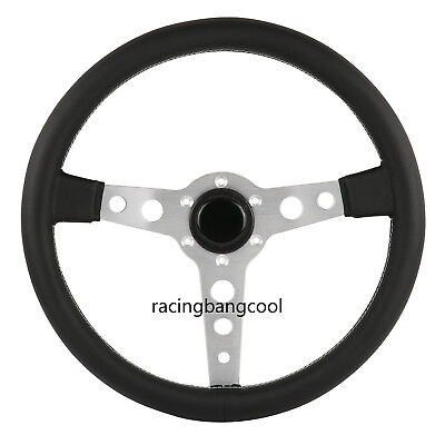-  Racing Silver Italy Prototipo 350mm Leather + Aluminum Frame Steering Wheel