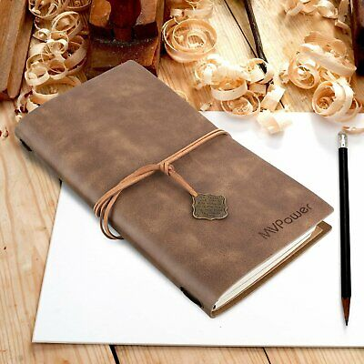 MVPOWER Journal Writing Notebook,Plain Paper Notepad Handmade Brown Leather