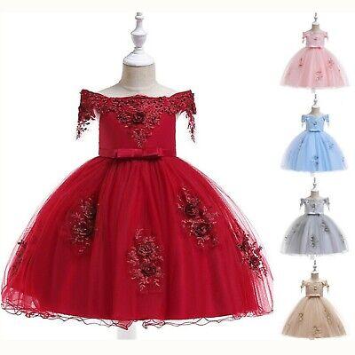 Blumenmädchen Kleid Tüll Festkleid für Mädchen Kinder Hochzeit Tutu Partykleider