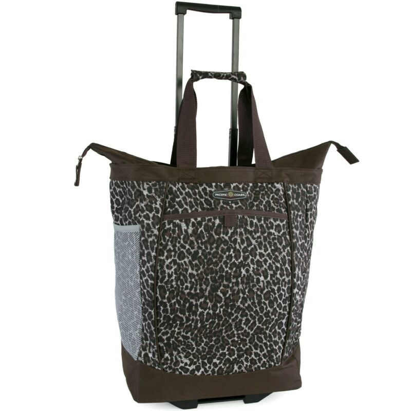 Pacific Coast Brown Polyester Leopard-print Rolling Shopper Brown