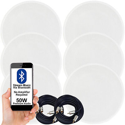 Activo Bluetooth 6x Techo Altavoz Kit – 50W Inalámbrico Hifi Audio Transmisión