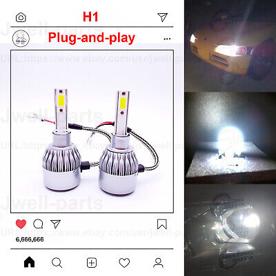2x Super Bright H1 LED Headlight Bulbs Kit High Low Beam 55W 6000K White