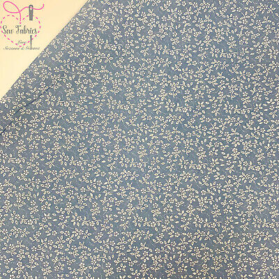 Chambray Blue Fabric Ditsy Floral Polycotton Material Suitable for Craft & Sewin