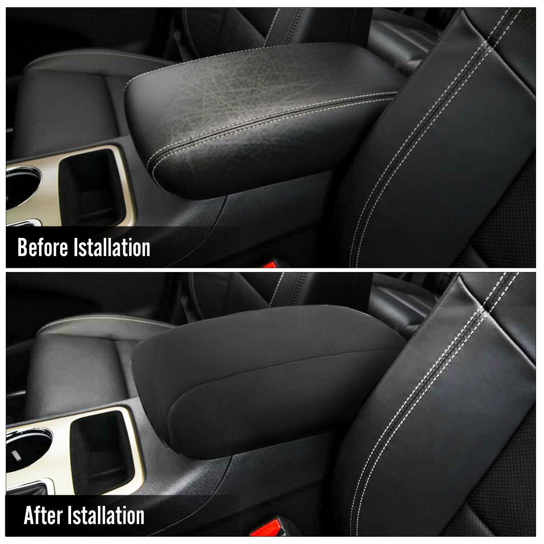 Blcak JeCar Center Console Armrest Pad Cover Soft Arm Rest Protector Interior Accessories for Dodge Ram 2010-2020
