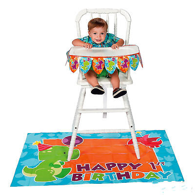 1st Birthday High Chair Decorations (BABY 1st Birthday Little Dino DINOSAUR High Chair Decorating Kit Decorations)