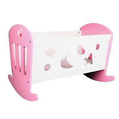 Puppenwiege Holz Bett Weiß/Pink Puppenbett Schaukelbett Puppen Wiege mit Zubehör