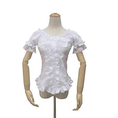 Women Victorian Gothic Lolita Lace Blouse Short Sleeve Reenactment Costume - Lace Short Sleeve Kostüm