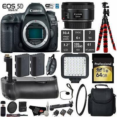 Canon EOS 5D Mark IV DSLR Camera +50mm 1.8 STM Lens + Professional Battery Grip