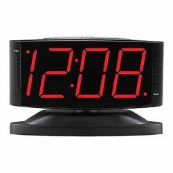 Large Digital Alarm Clock LED Display Swivel Base Electric Beep Snooze Black New