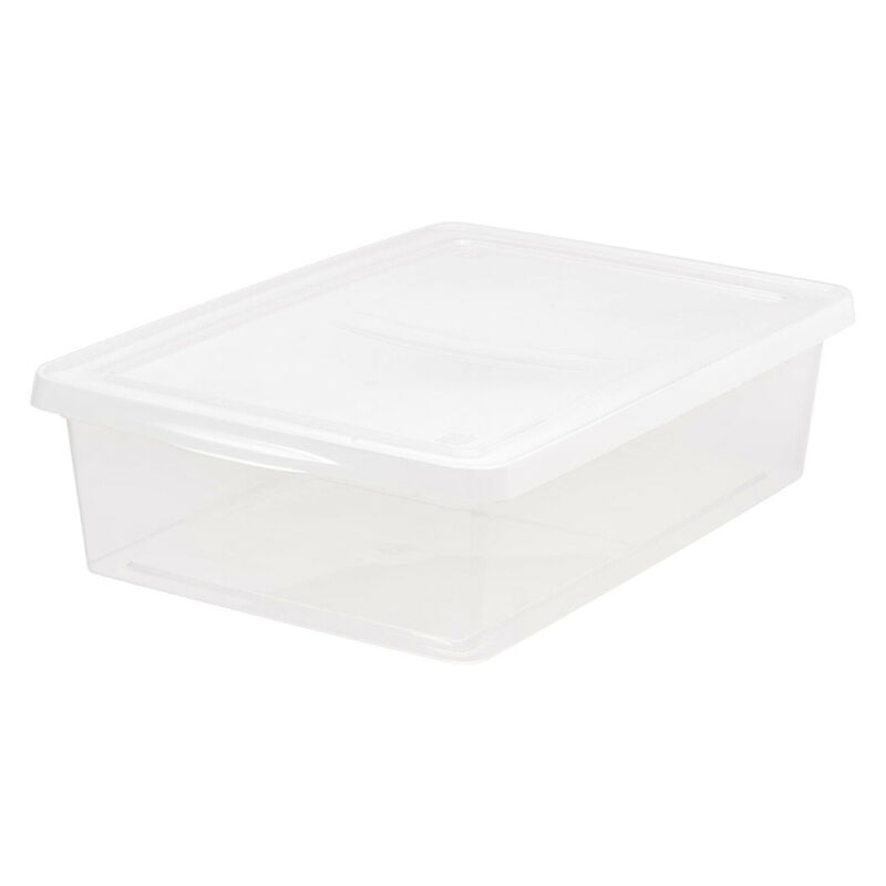 IRIS USA 28 Quart Utility Storage Tote w/ Secure Snap Tight Lid, Clear (10 Pack)