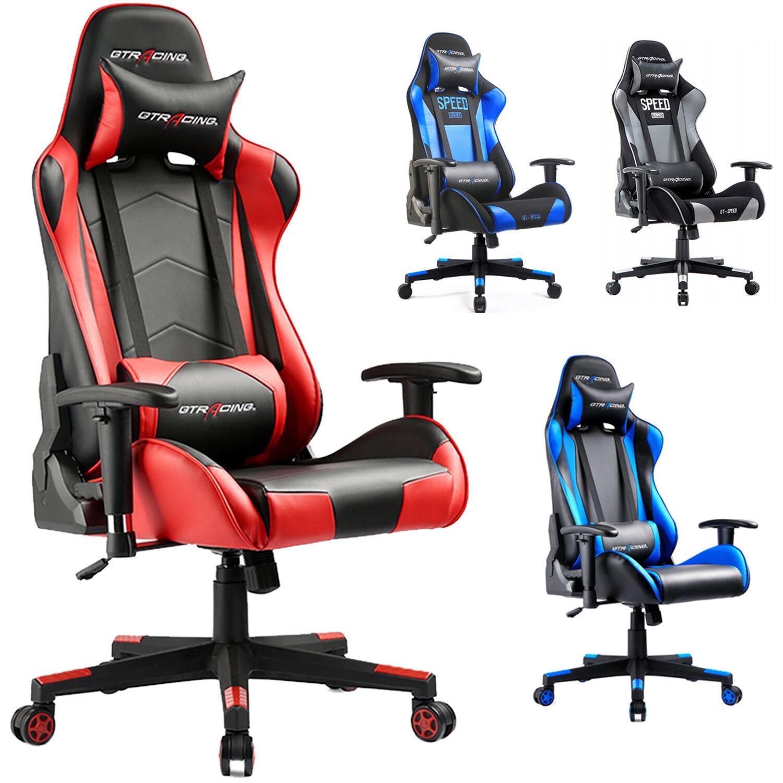 GTRACING Gaming Racing Chair Ergonomic Height Back Adjustabl